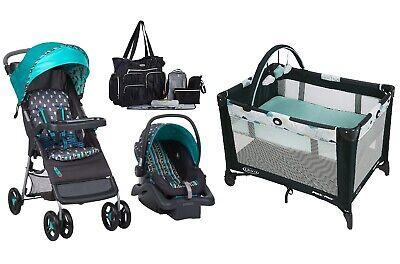 Baby Boy Stroller Car Seat Diaper Bag Playard Bassinet Combo Set Travel System