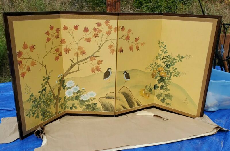 VINTAGE ASIAN 4 PANEL SCREEN each panel 36 tall x 18 1/2 wide