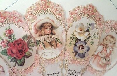 Vintage Inspired Victorian Paper Fan Greeting Card Old Print Factory Cupid Heart - Paper Factory Greeting Cards