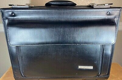 Samsonite Leather Hard Rolling Brief Catalog Pilots Case Combination Lock