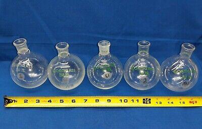 Lot Of 5 250 Ml Chemglass Boiling Flask Vintage Lab Equipment Bunsen Burner