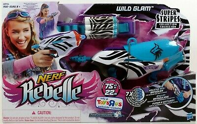 Hasbro Nerf Rebelle Super Stripes Collection Wild Glam FOAM DART BLASTER Set