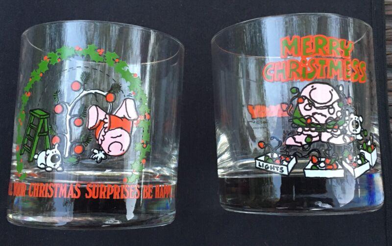 (2) Ziggy Christmas Barware Holiday Glasses Tom Wilson Cup Vintage 1980