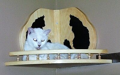 Cat bed  corner shelf Pine wood   Hand crafted  cat silhouettes