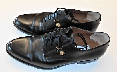 VERSUS by VERSACE Mens Black Leather Lace Up Shoes Uk8 With The Gold Medusa