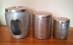 Vintage Aluminium Kitchen Canisters Golden Grove Tea Tree Gully Area Preview