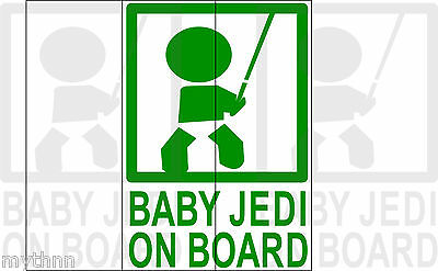 Baby Jedi On Board Graphic Decal Car Vehicle Green