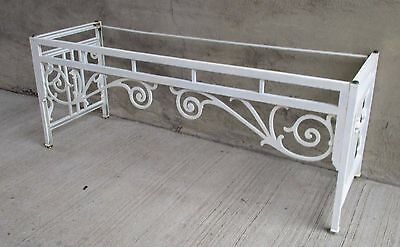 "Vtg. Ornate Cast Alum. Metal Console Folding Garden Table Base,66"" x 21"" x 26"" H"