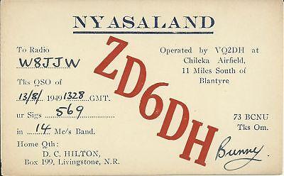 OLD VINTAGE ZD6DH CHILEKA NYASALAND AFRICA AMATEUR RADIO QSL CARD