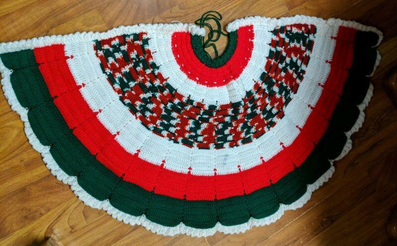 Vintage Crocheted Knit Christmas Tree Skirt Handmade Red White Green