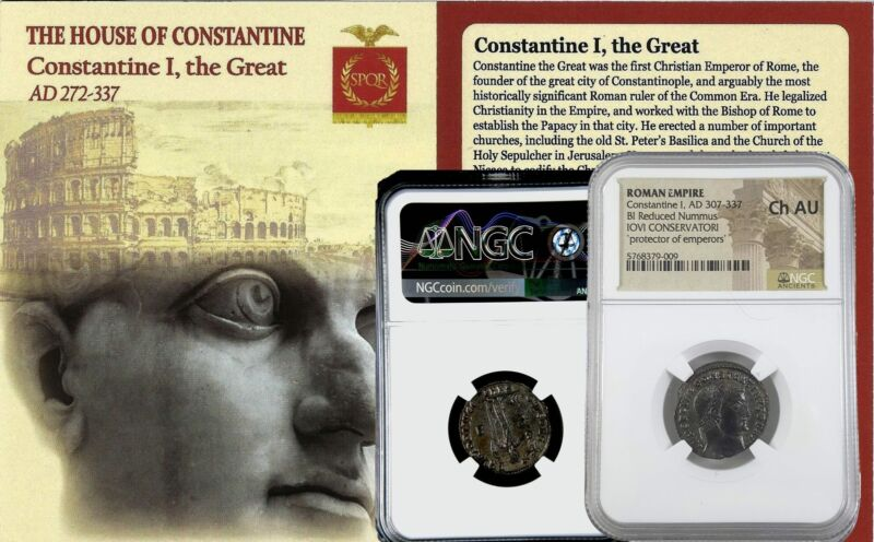 NGC Choice AU ! Roman AE of Constantine I, the Great (AD 272-337) Jovi Conservat