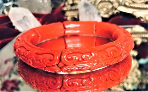 Vintage Eastern Spirit Bohemian Resin Craved Heart Red Puzzle Banded Bracelet
