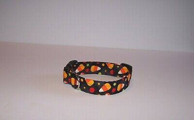Wet Nose Designs Bright Happy Halloween Candy Corn & Dots Dog Collar on Black  - Halloween Candy Dog