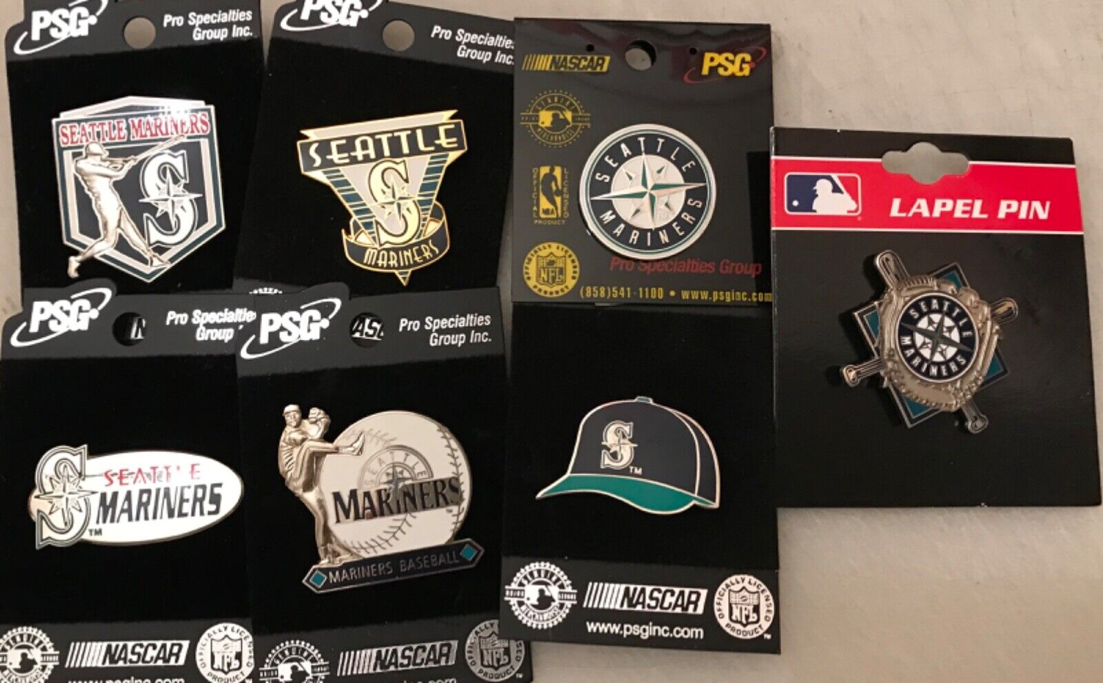 Set of 7 Seattle Mariners Logo Licensed Collectors Pins BLOW