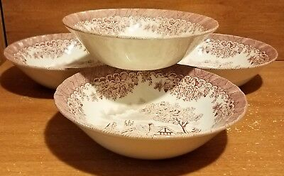 Churchill THE BROOK PINK Coupe Cereal bowl set of 4, 6 1/2