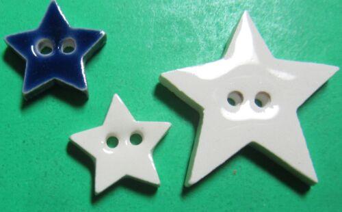 "(3) 1/2""-1"" 5-POINT STAR BLUE WHITE CERAMIC NOVELTY CRAFT BUTTONS (Z63)"