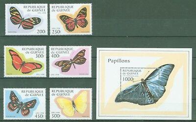 GUINEA 1998 SCHMETTERLINGE FALTER BUTTERFLIES PAPILLONS NR 1716 21 BL 518