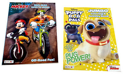 Mickey Mouse & Friends Puppy Dog Pals Disney Jr Coloring Book Activity Books Set