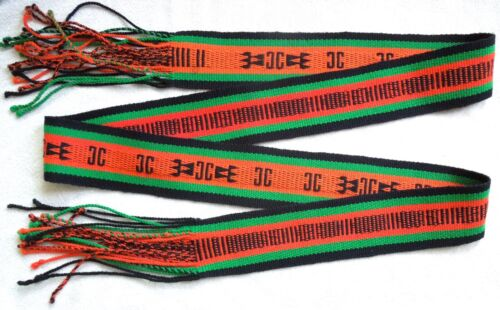 Hopi DANCE SASH Weaving *2-Sided* Red Green Black* 94 by 3.25 Inch* FREE SHIP*