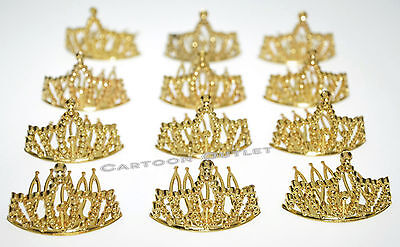 12 GOLD MINI PLASTIC PRINCESS QUEEN TIARA CROWN PARTY FAVORS CUPCAKE TOPPERS  - Tiara Cupcake Toppers
