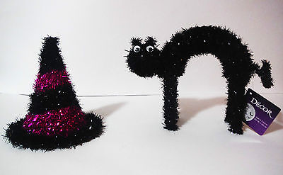 HALLOWEEN DECOR TABLE TOP TINSEL SCARY BLACK CAT AND BLACK PURPLE WITCH HAT](Scary Halloween Witch)