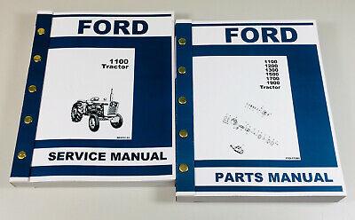 Ford 1100 Tractor Service Manual Parts Catalog Repair Overhaul Shop Book Set