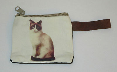 "Cat Coin Purse Leather Strap New Zippered 4"" Long Calico Cats Pets"
