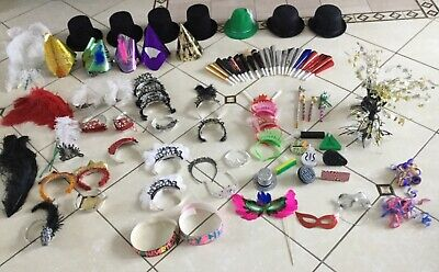 Lot of 91 Pieces, New Years Eve Hats, Masks, Tiaras, Noiisemakers, Plumes](New Years Eve Masks)