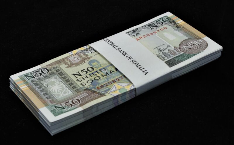 Somalia 50 (N50) Shillings (Shilin) x 50 Pcs Bundle, 1991 P-R2 Unc