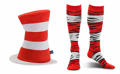 Kit Kat Costume (elope Dr.Seuss Cat in the Hat Tricot Plush Hat and Costume Socks Adults)