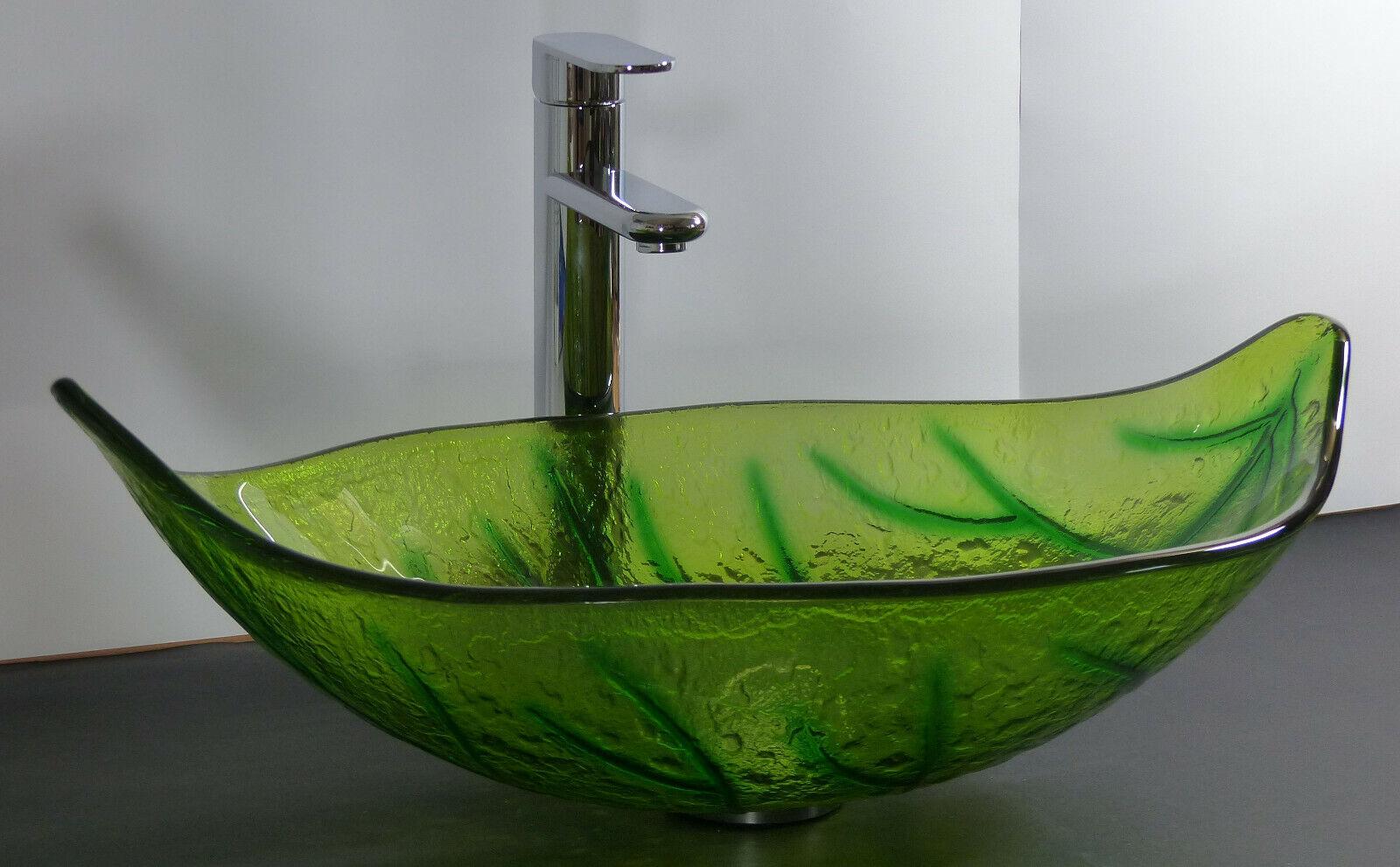 Aufsatz Glas Waschschale Waschbecken Waschtisch Blatt grün oval Glaswaschbecken