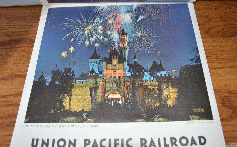 1965 Union Pacific Railroad Calendar Complete Disneyland 10th Anniversary