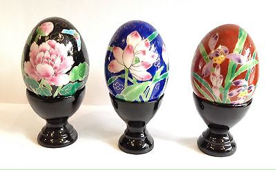 VINTAGE STYLE CHINESE CLOISONNÉ EGGS X 3 NEW WITH STANDS