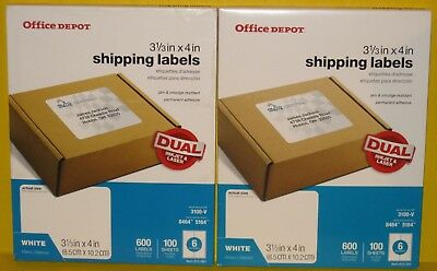 Office Depot Shipping Labels 612-061 - White - 1200 Labels-200 Sheets-3-13x4
