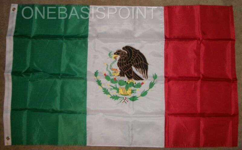 3x5 Mexico Flag Nylon Embroidered Tricolor Coat Of Arms Aztec Eagle Serpent New