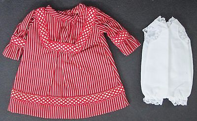 Handmade TINY RED & CREAM STRIPED DRESS w/ UNDERGARMENT Doll Clothes #D31 - Red Undergarments
