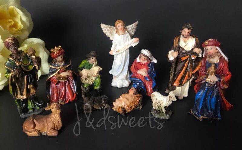 Christmas Nativity Scene Set Figures Polyresin Figurines Baby Jesus 11 PIECE SET