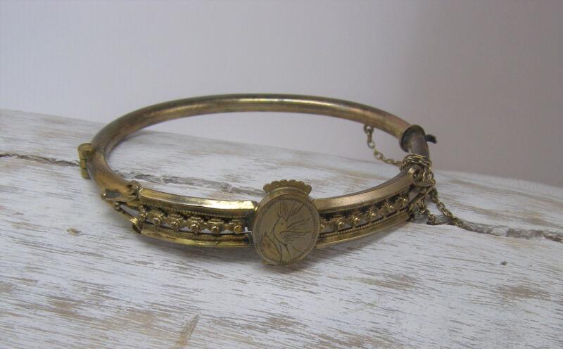 Vintage Victorian Hinged Gold Filled etched Bird Bangle Bracelet Etruscan Small