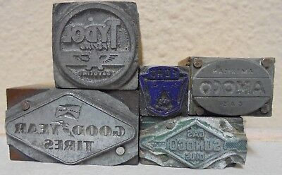 5 Vintage Printing Block Letterpress Blocks Gas Oil Ford Tydol Sunoco Good Year