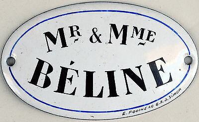 Antique French enamel building address occupant sign plaque Mr and Mrs Beline