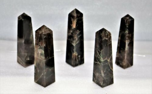 Metaphysical 105MM Natural Nuummite 4 Faceted Healing Power Energy Reiki Tower