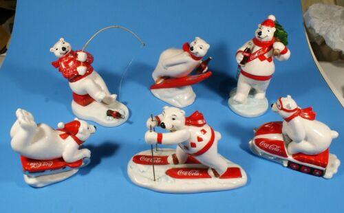 Six Coca Cola Polar Bears-  Enesco Always Skiing, Jumping, Sledding, Fishing ETC