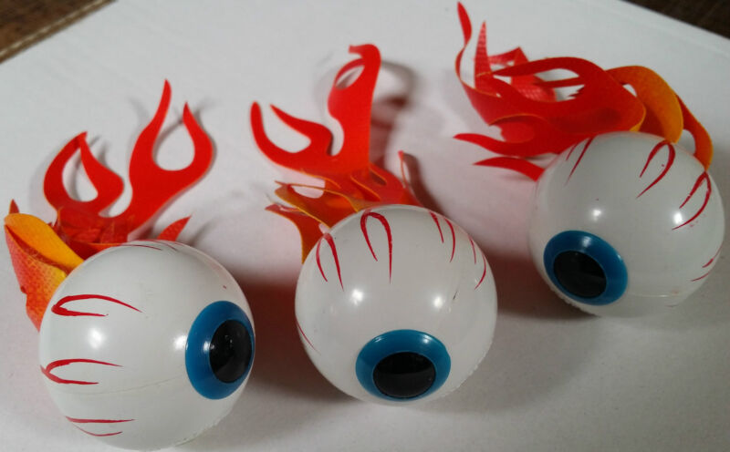 Vintage Flaming Burning  Eyeball Antenna Topper Ford Chevy Buick Olds- ONE piece