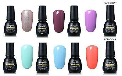 8 pcs Set 6 Color Professional Nail Art Gel Polish + Base + Top 7ml Soak Off UV
