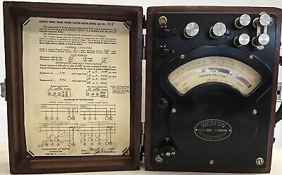 Weston Three Phase Power Factor Meter Model 338 No. 308 Antique 1945