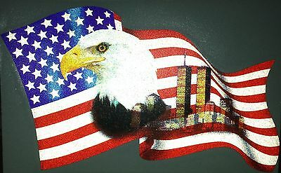 """Firefighter eagle flag decal, American flag, towers  fire dept, 6.25"""" wide #EF21"""