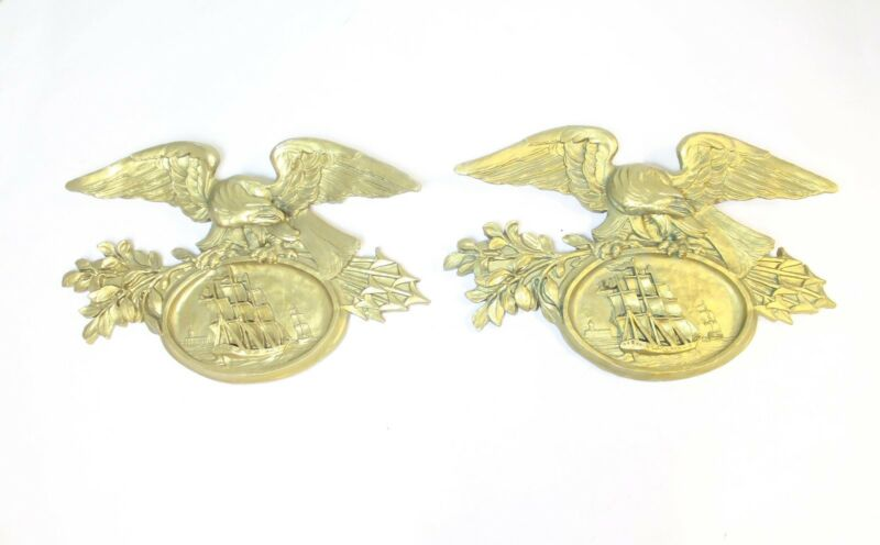 NAUTICAL LARGE PAIR OF GOLD GILT EAGLES OVER CLIPPERSHIP PLAQUES MERCANTILE