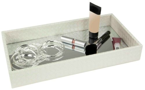 Home Basics NEW Leather Vanity Tray w Mirror Grey Black ST49