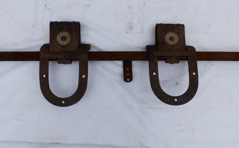 Antique Pair Barn Garage Door Rollers Big 4 Pulley Horseshoe Sliders Vtg 361-17P