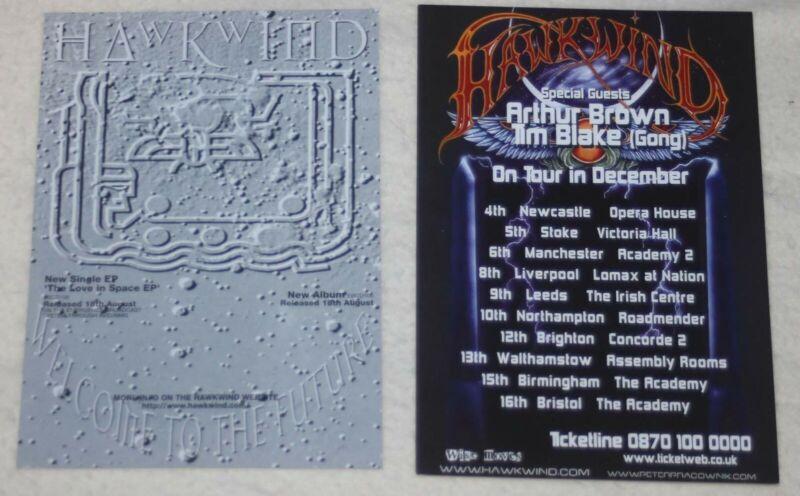 Hawkwind - Lot of two (2) UK concert flyers tour flyers handbills 1997 & 2002
